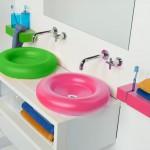 La innovadora línea de lavabos, accesorios y muebles para el baño de la marca BO!NG, convierten el baño en un entorno amable, divertido y lleno de color con productos de poliuretano flexible, blandos, seguros, higiénicos y duraderos