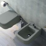 Diseñado por Rodolfo Dordoni el inodoro y bidé suspendidos Como en color gris, elegante para cualquier espacio
